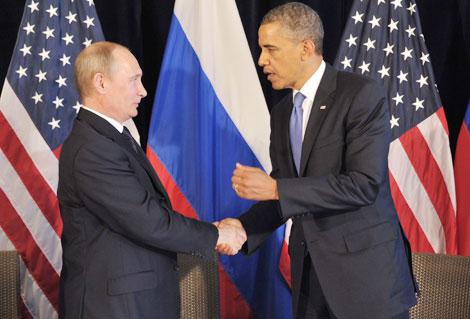 Cái bắt tay Nga - Mỹ cần thiết để giải quyết các thách thức tại Syria. (Tổng thống Putin và Tổng thống Obama trong một lần gặp gỡ trước đây).