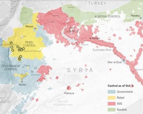 Khu vực các lực lượng kiểm soát ở Syria: màu hồng của IS, màu xanh lá của người Kurd, màu vàng của phe nổi dậy, màu xanh da trời của chính phủ Syria. Đồ họa: NewYorkTimes.