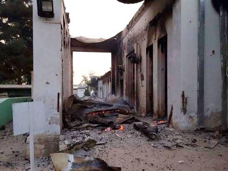 Bệnh viện MSF ở Kunduz sau khi bị không kích.