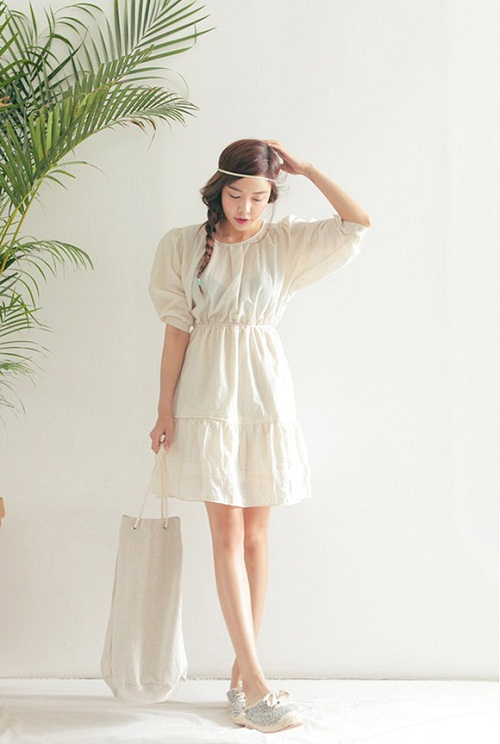 Váy babydoll với chất liệu thô đũi mát mẻ thích hợp với thời tiết mùa hè